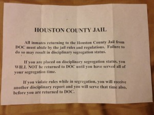 Houston County Jail ADOC Inmate Slip