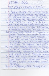 Testimony of inmate B66 and her experience of Houston County Jail