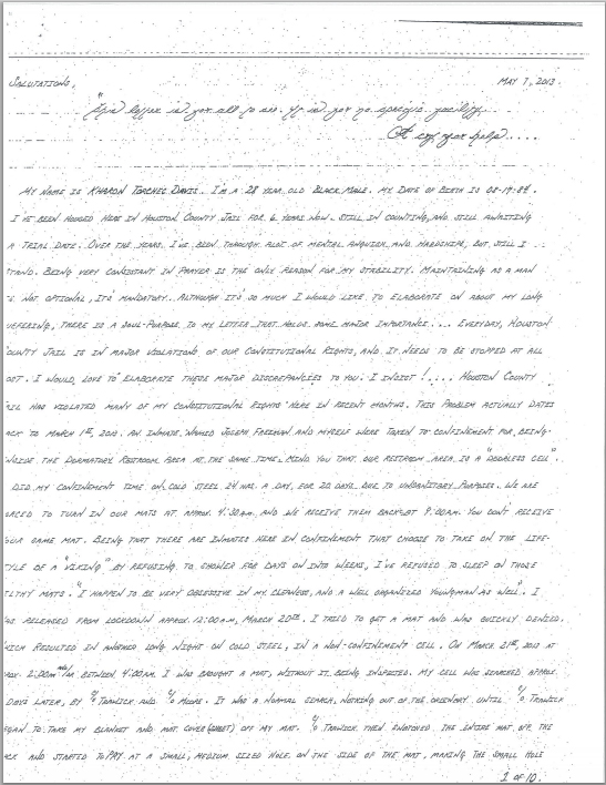 Cruel and unusual punishment enforced by houston county jail kharon davis letter penned on may 7th 2013 explaining the corrupt and abusive treatment that expocarfo Gallery