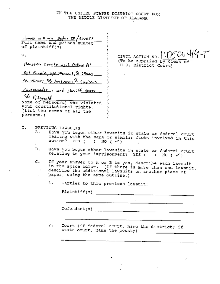 Original complaint by James Bailey about the torture he suffered in Houston County Jail