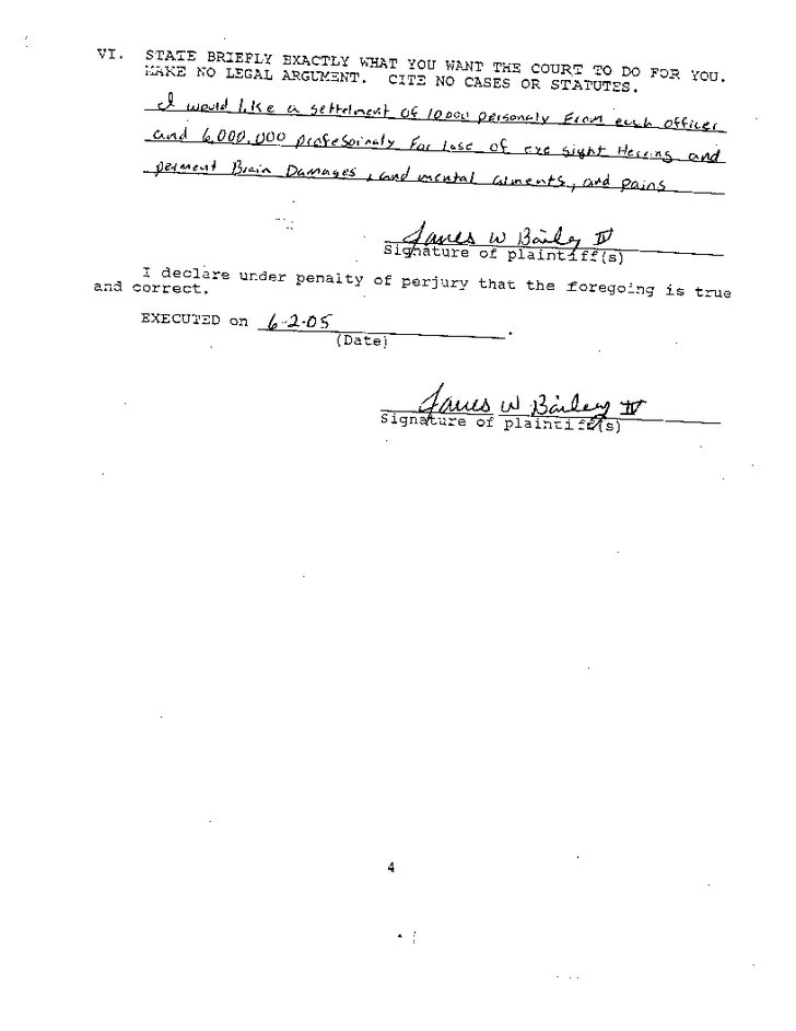 Original complaint by James Bailey about the torture he suffered in Houston County Jail - Page 4
