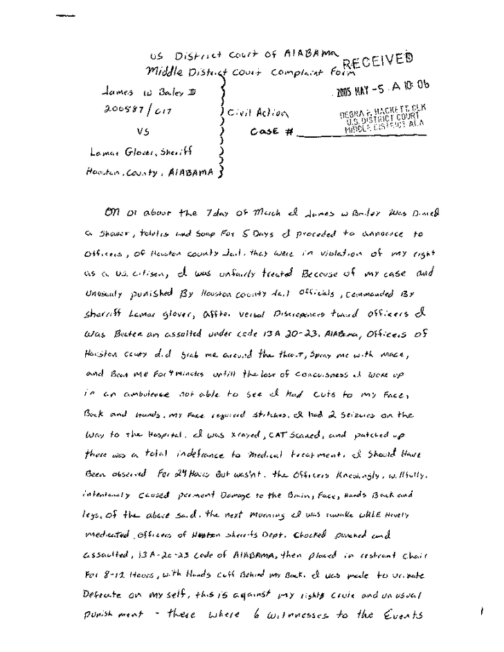 Original complaint by James Bailey about the torture he suffered in Houston County Jail - Page 5