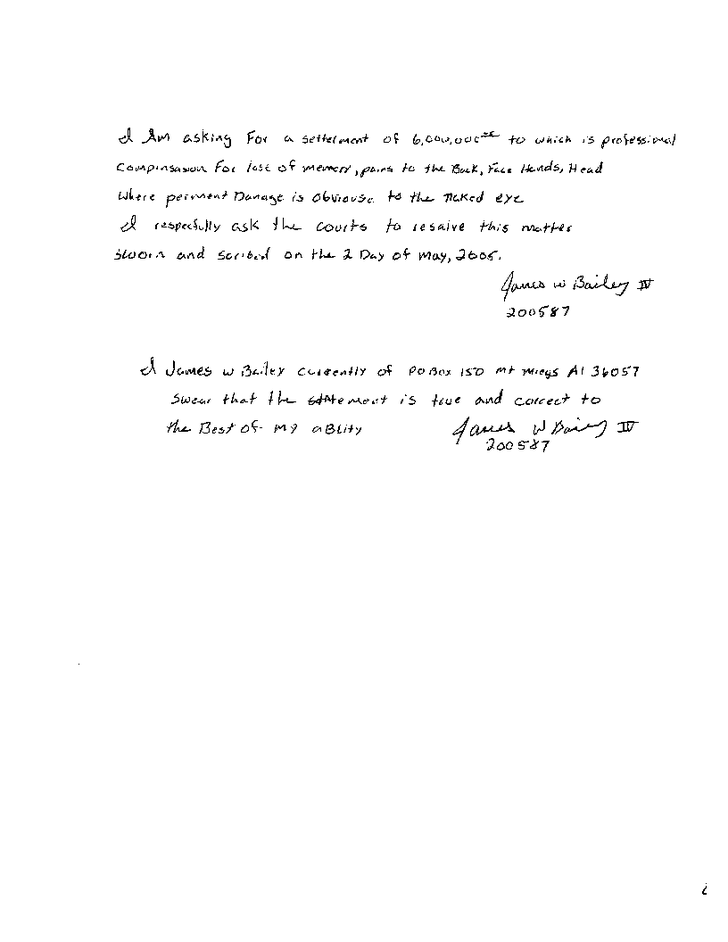 Original complaint by James Bailey about the torture he suffered in Houston County Jail - Page 6