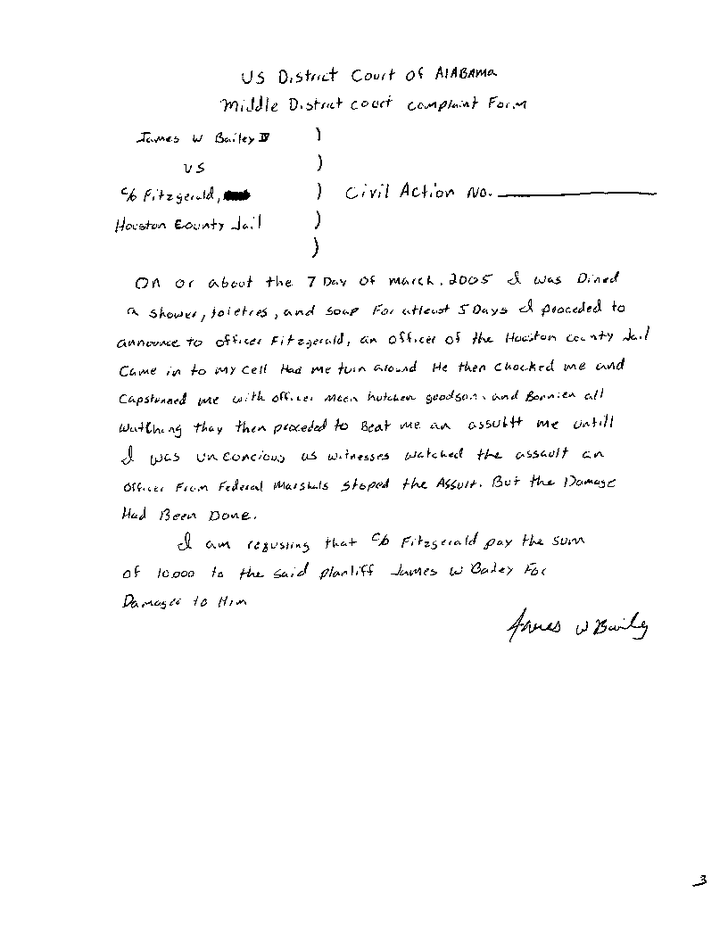 Original complaint by James Bailey about the torture he suffered in Houston County Jail - Page 7