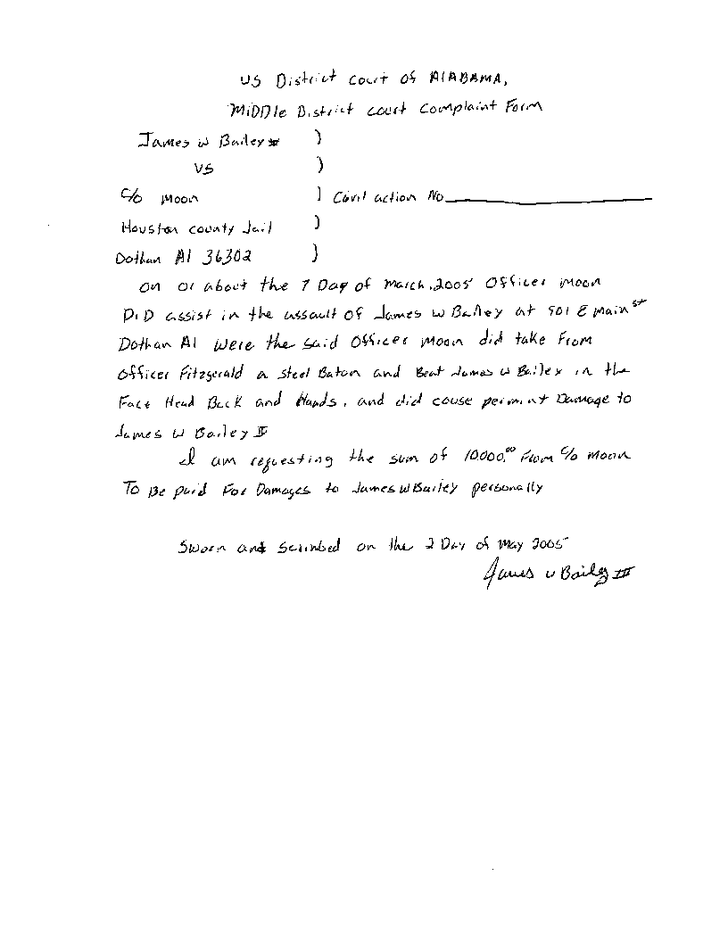 Original complaint by James Bailey about the torture he suffered in Houston County Jail - Page 8