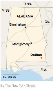 Map of Alabama showing Dothan in relation to Montgomery and Birmingham