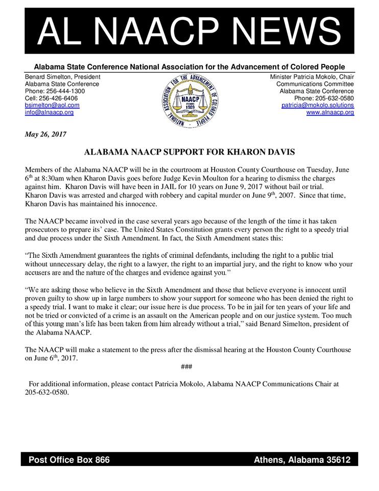 Alabama NAACP request dismissal hearing in the Kharon Davis case.